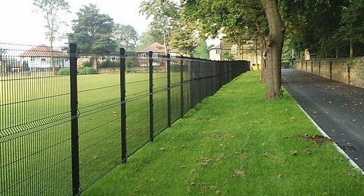 Welded mesh fencing in black