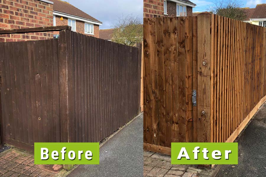 Before & After Image of Fence Repair | Chelmsford Fencing and Landscaping