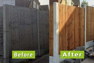 Before & After Image of end of life fence replaced | Chelmsford Fencing and Landscaping