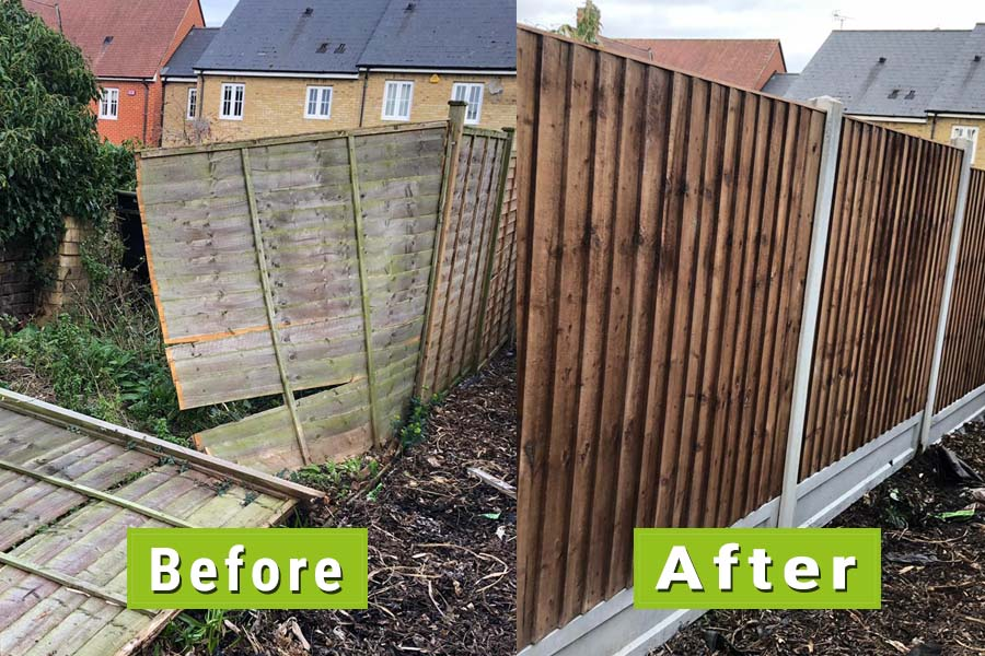 Before & After Image of fence repair after storm | Chelmsford Fencing and Landscaping