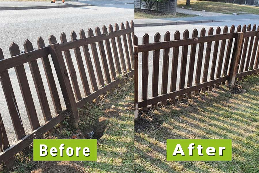 Before & After Image of picket fence repaired with new posts | Chelmsfod Fencing and Landscaping