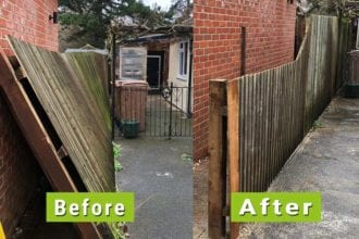 Before & After image of fence repaired by replacing rotten posts | Chelmsford Fencing and Landscaping