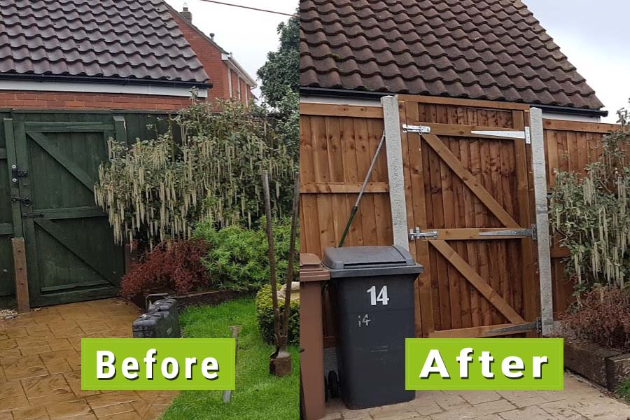 Fence Repairs Before and After Image | Chelmsford Fencing and Landscaping