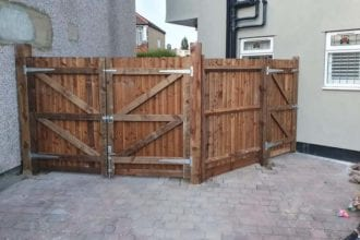 Pair of closeboard gates for wide access and a pedestrian gate   Chelmsford Fencing and Landscaping